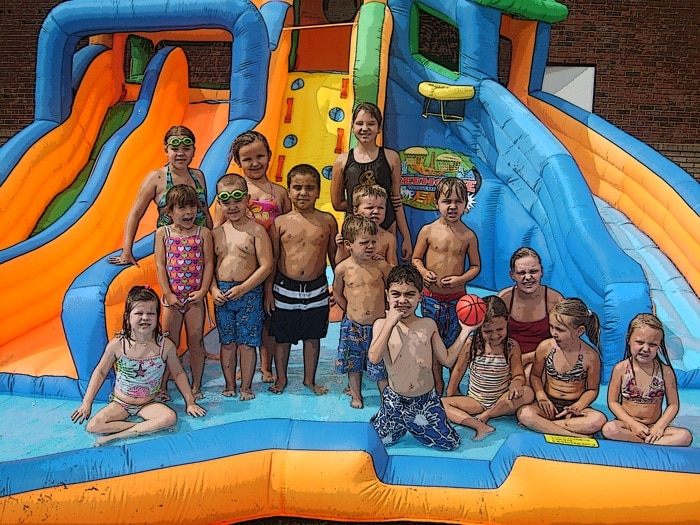 campers and waterslide